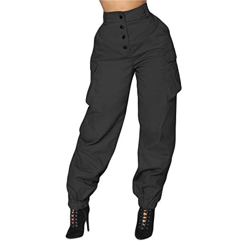 - JOFOW Womens Pencil Pants High Waisted Solid Casual Cargo Military Army Loose Tunic Trousers (XL,Black)