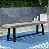 Great Deal Furniture Toby Outdoor Acacia Wood Bench, Sandblast Gray Finish and Black