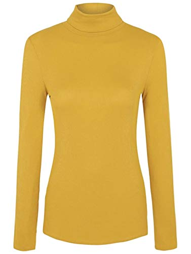 One Size moda Amarillo 21 larga manga Top Mustard PXY7q