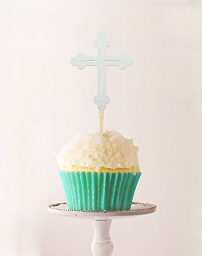 Cup Cake Topper Cross Baptism,Communion 2.3 X 5.2 Inches Las