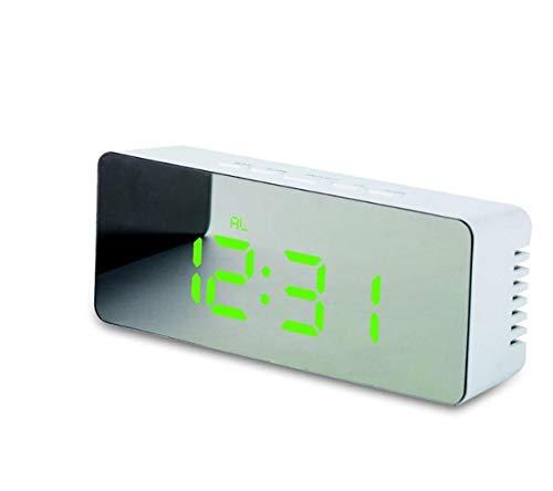 XZHH Reloj Despertador Espejo Led Reloj Digital Mesa Pantalla ...