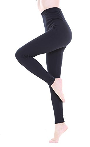 2 Pairs Women Winter Thick Warm Fleece Lined Thermal Stretchy Footless Tights (XL, Black Footless Tights)