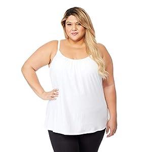 Womens Plus Size Cool Bra Flowy Top, White, 1X