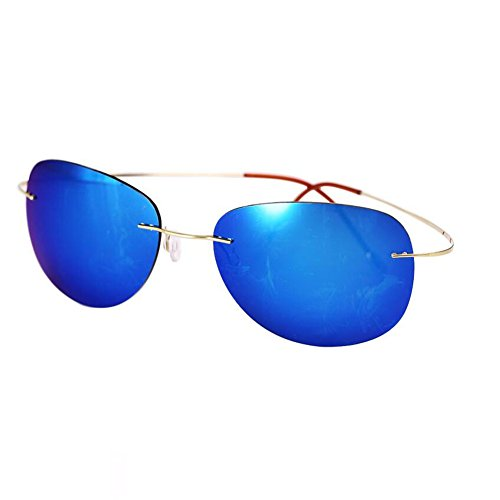 HONEY Ultraleichte 90% Titan Sonnenbrille - Polarisierte rahmenlose Fahrbrille - Unisex ( Farbe : Silver/blue hyun ) z2ujRoIfWp