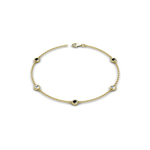 Petite Black and White Diamond (SI2-I1, G-H) 5 Station Bracelet 0.53 cttw in 14K Yellow Gold