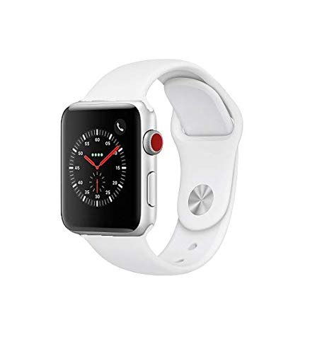 Apple Watch Series 3 42mm Smartwatch (GPS + Cellular, Silver Aluminum Case, White Sport Band) (Renewed)