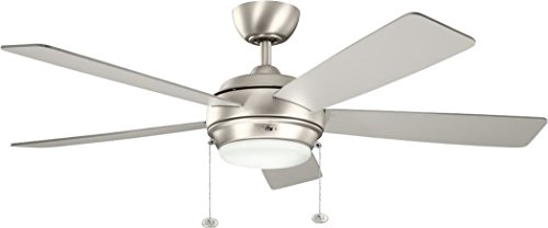 Kichler 300173NI Starkk Ceiling Fan, 52-inch, Brushed Nickel, 5 Reversible Silver/Walnut Wood - Ceiling Residential Lighting Fixture