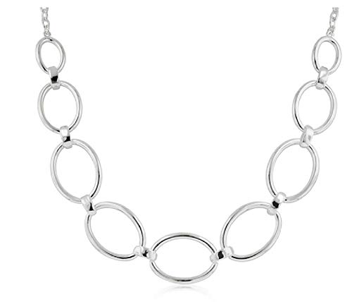 (Element Jewelry Rhodium Plated Large Oval Link Necklace- 17 in + 2 in)