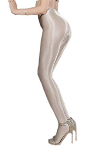 Kffyeye 70D Control Top Thickness Plus Size Stockings Pantyhose, Ultra Shimmery Stretch Plus Footed Tights for Women(1pcs Silver -