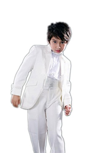 MLT Boy's 2-pieces White Party Prom Wedding Suit Set (2S) by MLT