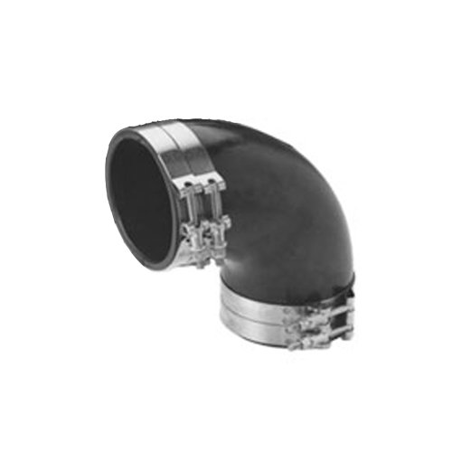 Trident Marine Trl-590-S/S Black Epdm Rubber 90-Degree Marine Wet Exhaust Elbow with 4 Stainless Steel T-Bolt Clamps, 5