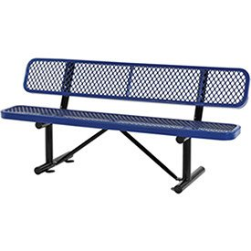 Cheap 72″L Expanded Metal Mesh Bench w/Back Rest, Blue