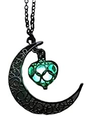 Amosfun – Colar luminoso com pingente de lua com coração, pedra fluorescente, que brilha no escuro