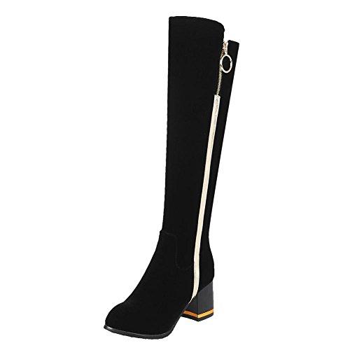 Mee Shoes Women's Warm Snow Zip Block Heel Knee High Boots Black RZ5wmXdm