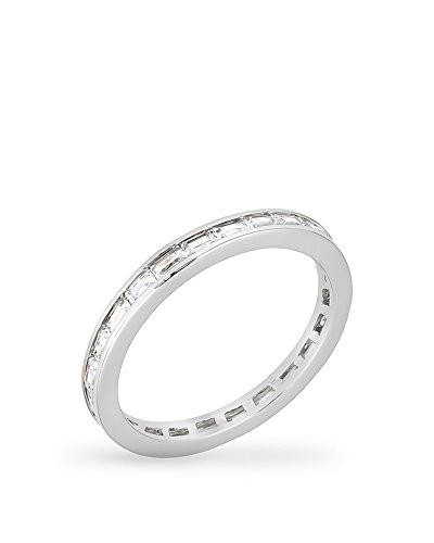 - Rhodium Plated Stacker Eternity Ring featuring Channel Set Clear Cubic Zirconia Baguettes Size 10