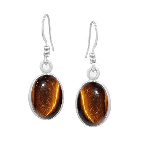 Tiger Eye Dangle Earrings 925 Silver Plated Handmade Jewelry For Women Girls