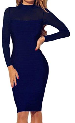 Cromoncent Femmes Manches Mince À Long Voir À Travers Robe Club Moulante Épissure Bleu Royal