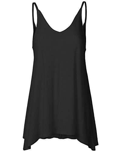 Casual Basic Solid Thin Lightweight Swing V-Camisole Tops
