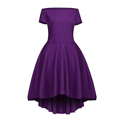 c364c2a09 Jug Po Women Off Shoulder Short Sleeve High Low Skater Dress free ...