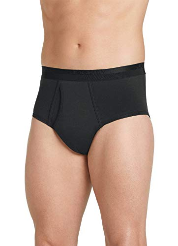 Jockey Men's Underwear Signature Pima Cotton Full-Rise Brief - 4 Pack, Black, L ()