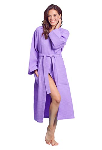 Luxurious Soft Absorbent Lightweight Long Kimono Waffle Spa Bathrobe for Women (X-Large, Lavender) ()