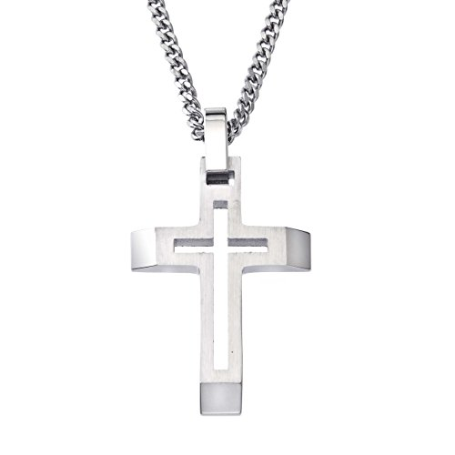 Mens Cross Cutout Pendant in Stainless Steel