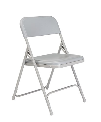 National Public Seating 800 Series Steel Frame Premium Light Weight Plastic Seat and Back Stacking Folding Chair with Double Brace, 480 lbs ()