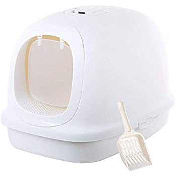 Extra Large Enclosed Cat Litter Pan Boxes - Jumbo Hooded Kitty Litter Pan with Litter Scoop (Pearl White)