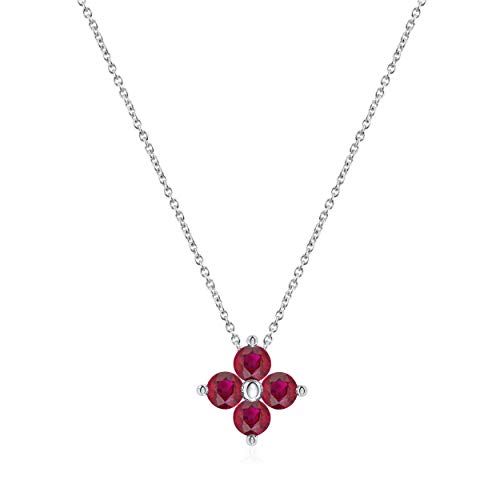 0.15 Carat Round Cut Natural Ruby Clover Pendant Necklace in 14K White Gold