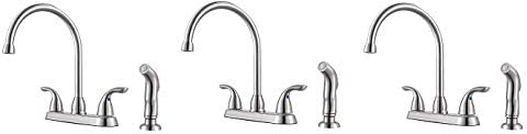 Pfister G136-500S Series 2-Handle Kitchen Faucet with Side Spray, Stainless Steel 3- Pack