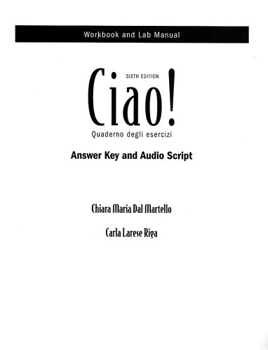 Audioscript (with Answer Key) for Ciao!, 6th
