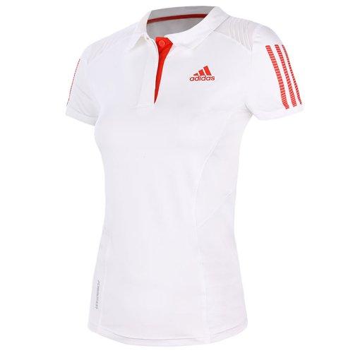 - Adidas Women's Barricade Polo White/Red (Medium)