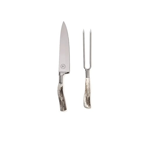 Professional Handmade Carving Set for Turkey ,Ham, Brisket .Includes :Carving Knife ,Fork and Wooden Box