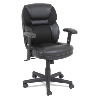 Mesh/Faux Leather Mid-Back Chair, Height-Adjustable T-Bar Arms, Black, Sold as 1 (Height Adjustable T-bar Arms)