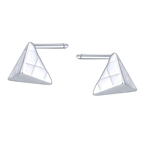 AoedeJ 925 Sterling Silver Mini Triangle Round and Star Stud Earrings Irregular Geometric Minimalist Earrings (Triangle) ()