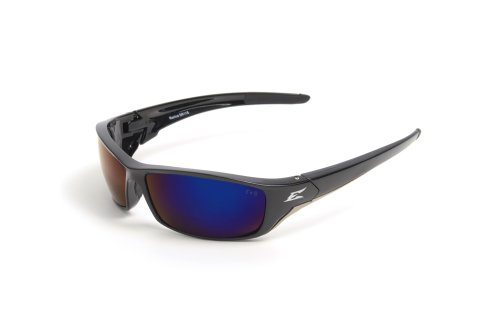 Edge Eyewear TSRAP218 Reclus Safety Glasses, Black with Polarized Aqua Precision Blue Mirror Lens Edge Safety Glasses