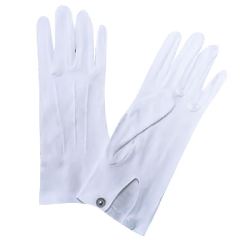 Mens White Stretchy Cotton Gloves With Snap (White Stretchy Cotton Gloves)
