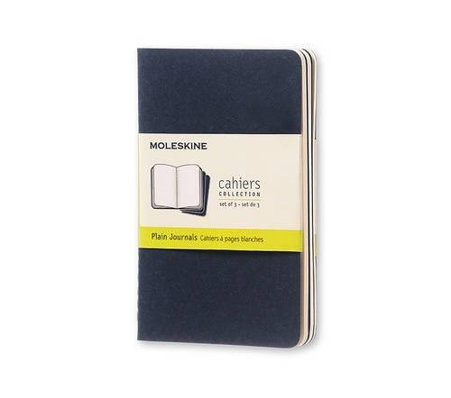 Moleskine Cahier Journal (Set of 3), Pocket, Plain, Indigo Blue, Soft Cover (3.5 x 5.5)