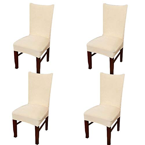 Bed Room Set Dining (Vonty Velvet Dining Chair Covers Stretch Removable Chair Covers for Dining Room Home Decor Set of 4, Off White)