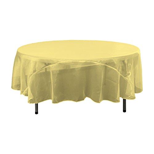 LA Linen Sheer Mirror Organza Round Tablecloth, 90'', Gold by LA Linen