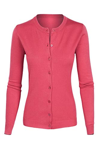 (iliad USA 7027 Womens Button Down Crew Neck Long Sleeve Soft Knit Cardigan Sweater Rose Medium)