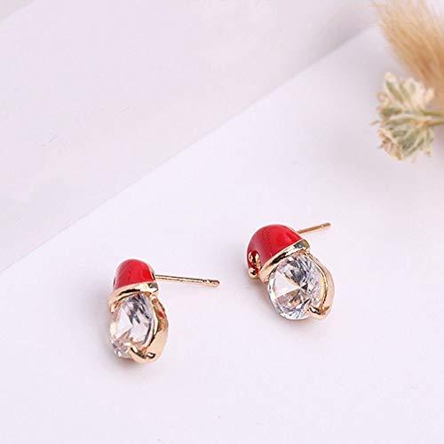 - Novelty Crystal Decorations Santa hat Earrings Xmas Gifts Rhiestone Ear Stud