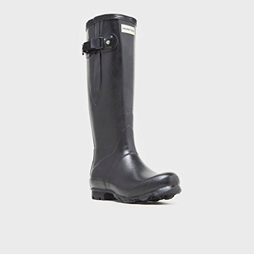 Hunter Campo De Norris Lado Señoras Ajustable Wellington Boot Black