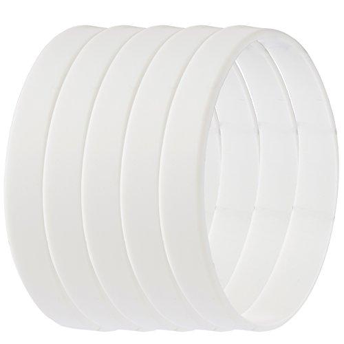 Green House-5pcs Blank Wristband White Fashion Sports Silicone Wristband Bracelets