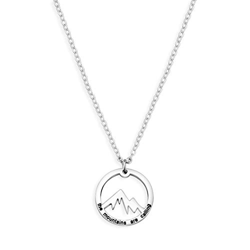 (BNQL The Mountains are Calling Necklace Nature Outdoor Gift for Hiker)