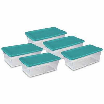 STERILITE 16433W06 6 QT Clear Storage Boxes Banded Together (5 Pack) (Qt Sterilite Box 6 Storage)