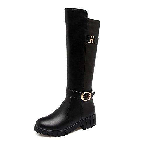 Platforms DecoStain Buckle Knee Gear High Boots Zipper Sole Black Women's qnOp6FgnS