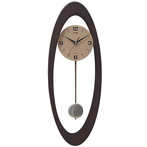 (Pendulum Clock Wooden Framed Glass Fronted Pendulum Wall Clock, Creative Art Clock, Modern Mute Craft Clock (Color : Walnut) )