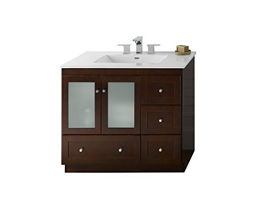 RONBOW Shaker 37 inch Modular Bathroom Vanity Set in Dark Cherry, Single Bathroom Vanity Cabinet with Frosted Glass, White Kara Bathroom Sink Top with 8 inch Widespread Faucet Hole 081936-1L-H01_Kit_1 - Ronbow Open Grid