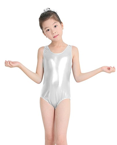 (speerise Kids Girls Shiny Metallic Tank Top Racerback Gymnastics Leotard Silver 8)